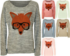 New Womens Fox Glasses Knitted Jumper Ladies Long Sleeve Stretch Print Top