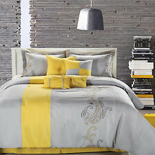 Ann Harbor Yellow Comforter Bed In A Bag Set with Sheet Set 12 Piece