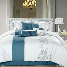 Ann Harbor Blue Comforter Bed In A Bag Set with Sheet Set 12 Piece