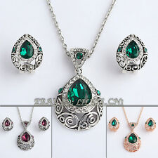 A1-S095 Fashion Vintage Style Earrings & Necklace Jewelry Set 18KGP Crystal