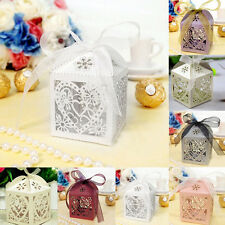 10/50/100pc Love Heart Favor Ribbon Gift Box Candy Boxes Wedding Party Decor