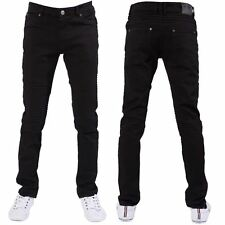 Seven Series Designer New Mens Skinny Fit Black Jeans Stretch Biker Denim Pants