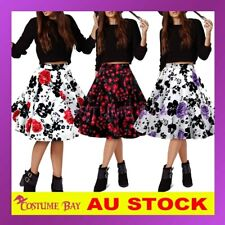 Vintage Rockabilly 50s High Waisted Swing Midi Retro Petticoat Prom Skirt Dress