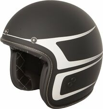 Fly Racing .38 Matte Black/White Scallop Racer cafe racer 3/4 motorcycle helmet