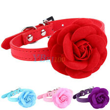 Adjustable Pets Dog Flower PU Leather Collar Puppy Cat Choker Buckle Neck Strap
