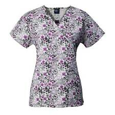 Medgear Mock Wrap Scrub Top with Ties, 2 Pockets 109-Floral Ditsy