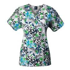 Medgear Mock Wrap Scrub Top with Ties, 2 Pockets 109-Dragonfly Dot