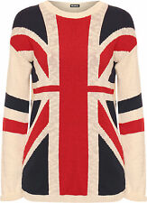 New Womens Union Jack British UK Flag Ladies Long Sleeve Knitted Jumper Top