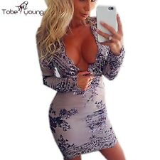 Luxury Sequins Lace Embroidery Sexy V Neck High Waist Bodycon Club Party Dress