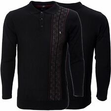 Mens Knitted Black Long Sleeve Polo Shirt Sweater Jumper Top Gabicci Size S-XXL