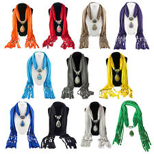5X(Alloy Resin Pendant Embellished Scarf For Women HY