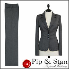 NEXT UK12/14 US8/10 GREY BUSINESS TROUSER SUIT WOMENS LADIES SIZE PIP & STAN