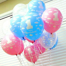"""Hot 5/10Pc Kids 1st Birthday Printed Pearlised Latex Balloons 12"""" Party Decor"""
