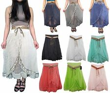 Womens  Layered Tiered Frilled Lace Ladies  Gypsy Long Maxi Skirt  Summer 8/14