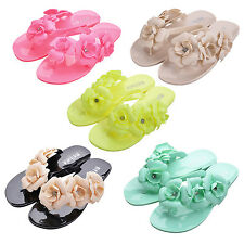 5X(New Flip Flops Women Sandals Female Sandals flower jelly sandals slippers HY