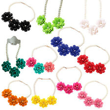 5X(3 big resin flower necklaces pendants for women pearl jewelry HY