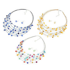 10X(Beaded Multi Strand Necklace and Drop/Dangle Earring Set HY