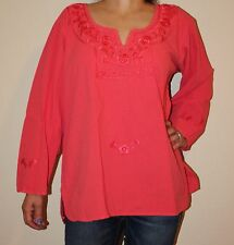 MEDIUM PEASANT OAXACA MANTA HAND EMBROIDERED MEXICAN BLOUSE TOP 100% COTTON