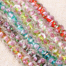 Lampwork Glass Rose Flower Interior Faceted Rondelle Spacer Loose Beads Charms