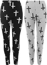 New Plus Size Womens Cross Print Full Ankle Leggings Ladies Stretch Pants