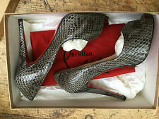 Christian Louboutin VERY PRIVE grey patent python shoes,  size 37.5 EU or 4.5 UK