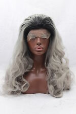 Lolita Ombre Grey LONG Wave Lace Front Wig Womens Synthetic Wigs Heat Resistant