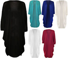 New Womens Plus Size Knitted Short Batwing Sleeve Ladies Long Cardigan Top