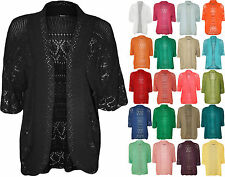 New Plus Womens Crochet Knitted Short Sleeve Ladies Shrug Cardigan Top