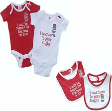 ENGLAND RFU BABIES BODY PRAM SUIT SHORT SLEEVE RUGBY UNION TOUR BABY GROW VEST 2