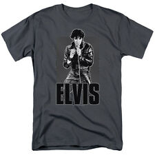 Elvis Presley Singing on Stage in Leather Jacket Tee Shirt Adult S-3XL