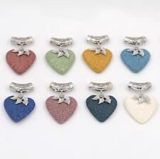 Heart Lava Rock Volcano Stone Pendant Silver Plated Charm pendents necklace New
