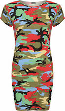 Womens Plus Multi Camouflage Print Top Baggy Oversized Short Sleeve Long T-Shirt