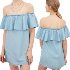 Sexy Ladies Fashion One Shoulder Blouse Top Solid Ruffle Loose Shift Dress New