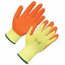 12 PAIRS ORANGE LATEX COATED WORK GLOVES MENS BUILDERS GARDENING