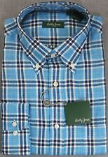 BOBBY JONES GOLF Mens BLUE PLAID CHECKER 100% LINEN LS SHIRT NWT  M  L  XL  $145