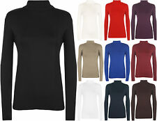New Plus Size Ladies Polo Neck Long Sleeve Womens Stretch Bodycon Top