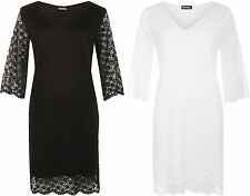 New Womens Plus Size V-Neck Floral Lace Lined 3/4 Sleeve Ladies Dress