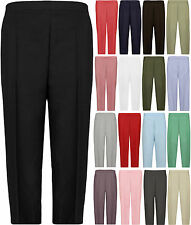 New Plus Size Womens Plain 3/4 Elasticated Ladies Trousers Shorts Pants
