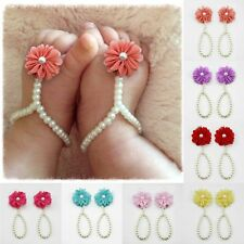 Newborn Infant Baby Girls Barefoot Ring Sandals Rose Flower Pearl Feet Toe Shoes
