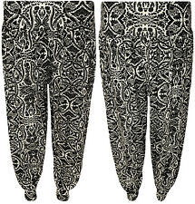 New Womens Plus Size Black Paisley Print Baggy Ladies Harem Pants Trousers