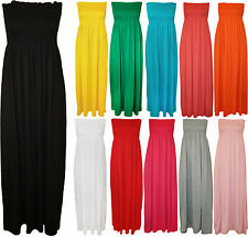 New Plus Size Womens Shirred Ladies Bandeau Strapless Long Maxi Dress