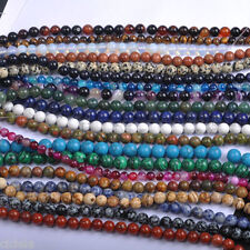 New Natural Gemstone Round Spacer Loose Beads Craft DIY Jewelry Findings 4-12MM