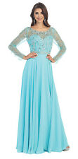 Mother of the Bride Long Sleeve Sheer Mesh Beaded Chiffon Plus Size Formal Gown