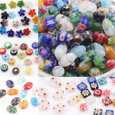 20/50Pcs Mixed Shape Millefiori Glass Craft Beads Multi-Color Loose Spacer Bead