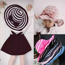 Fashion 2-6Y Baby Girl Sun Cap Kids Brim Summer Beach Stripe Bow Visor Hats Tops