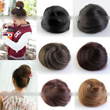 Stylish Pony Tail Women Clip in/on Hair Bun Hairpiece Extension Scrunchie QW