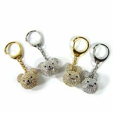 Crystal Rhinestone Rabbit Bunny Teddy Bear Charm Key Ring Chain Holder Accessory
