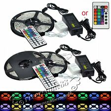 5M SMD 3528 5050 5630 3014 RGB/White 300LEDs LED Strip Lights 12V Adapter Power