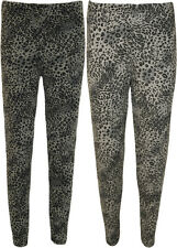 Plus Size Animal Print Leggings New Grey Womens Long Trouser Ladies Pants