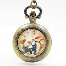 Alice in Wonderland Cute White Rabbit Quartz Pocket Watch Necklace Girls Boys